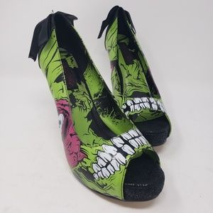 Women Iron Fist green zombie stilletos heels 10